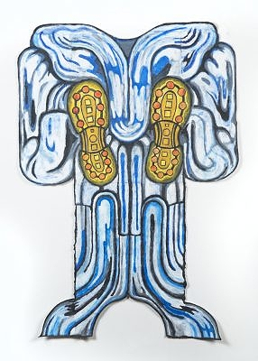 "Blue Robe, 2015, 35"" x 25"", wax pastel on paper"