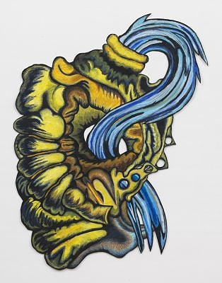 "Yellow Jacket Blue Squeeze, 2015, 52"" x 40"", wax pastel on paper"