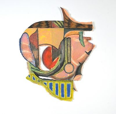 Helmet, wax on paper, 19 x 23 inches